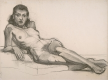"""""""Reclining Nude Sketch"""" © Frederic Whitaker Charcoal Drawing"""
