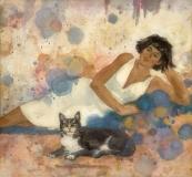 """""""Dexxie En Deshabille"""" 1994 © Eileen Monaghan Whitaker N.A. Watercolor"""