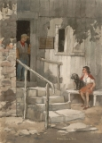 """""""Gilbert Stuart Lived Here"""" 1970 © Frederic Whitaker 22x16 inches Watercolor"""