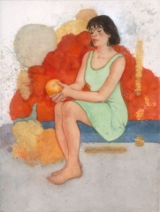"""""""Girl in the Red Dress © Eileen Monaghan Whitaker (unknown size and date) Watercolor"""