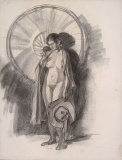 """""""Nude Woman, Cloak on Shoulders with Hat"""" © Frederic Whitaker Charcoal Drawing"""