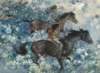 """Riding the Bubbles"" © Eileen Monaghan Whitaker (size and date unknown)"