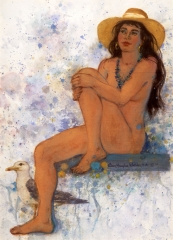 """""""Seated Girl with Hat"""" © Eileen Monaghan Whitaker (date and size unknown) Watercolor"""
