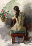 """""""Seated Nude, No. 2"""" © Frederic Whitaker 20x14 inches Watercolor"""