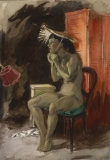 """""""Seated Nude, No. 1"""" © Frederic Whitaker 14x20 inches Watercolor"""