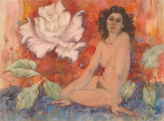 """""""Sweet Days and Roses"""" 1994 © Eileen Monaghan Whitaker 22x30 inches Watercolor"""