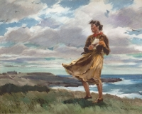 """""""The Happy Winds Upon Her Played""""  1959 © Frederic Whitaker 22x27.5 inches"""