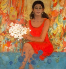 """""""The Woman in the Red Dress"""" © Eileen Monaghan Whitaker (size and date unknown) Watercolor"""