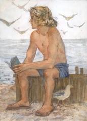 """Thinker"" © Eileen Monaghan Whitaker 20x16 (date unknown) Watercolor"