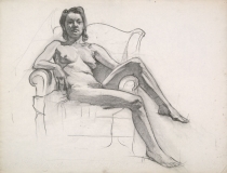 """""""Woman in Chair, Nude"""" © Frederic Whitaker Charcoal Drawing"""