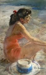 """""""Con"""" 1953 © Eileen Monaghan Whitaker 16.8x10.5"""