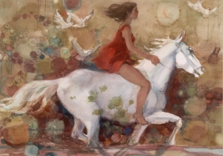 She Rides A White Horse 1987 © Eileen Monaghan Whitaker 30x22 inches