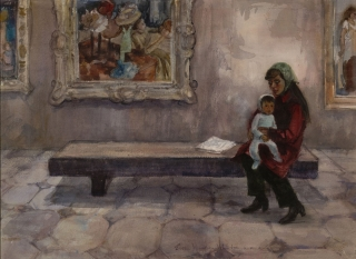 """Young Art Lover"" 1970 © Eileen Monaghan Whitaker 22x30 inches Watercolor"