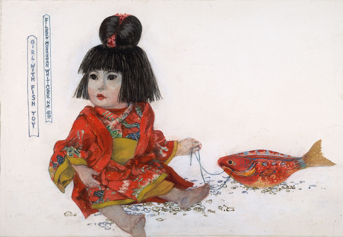 """Girl with Fish Toy"" 1997 © Eileen Monaghan Whitaker 14x20 inches Watercolor"