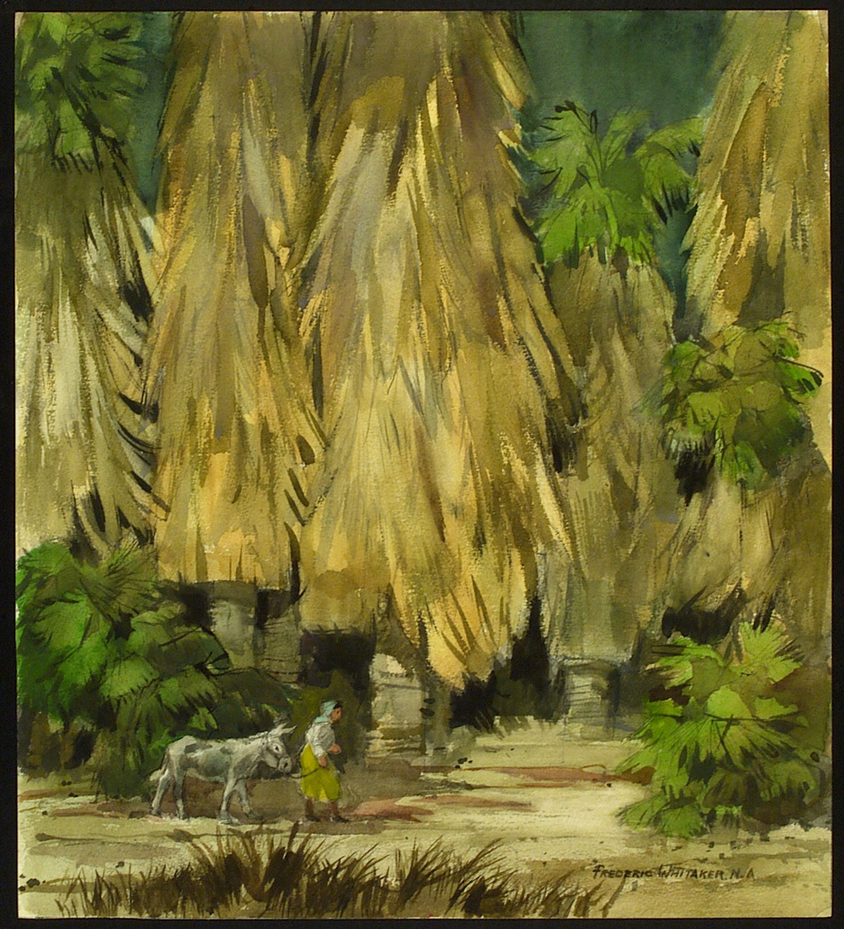 """Giant Palms"" 1970 © Frederic Whitaker N.A. 22x24.5 inches Watercolor"