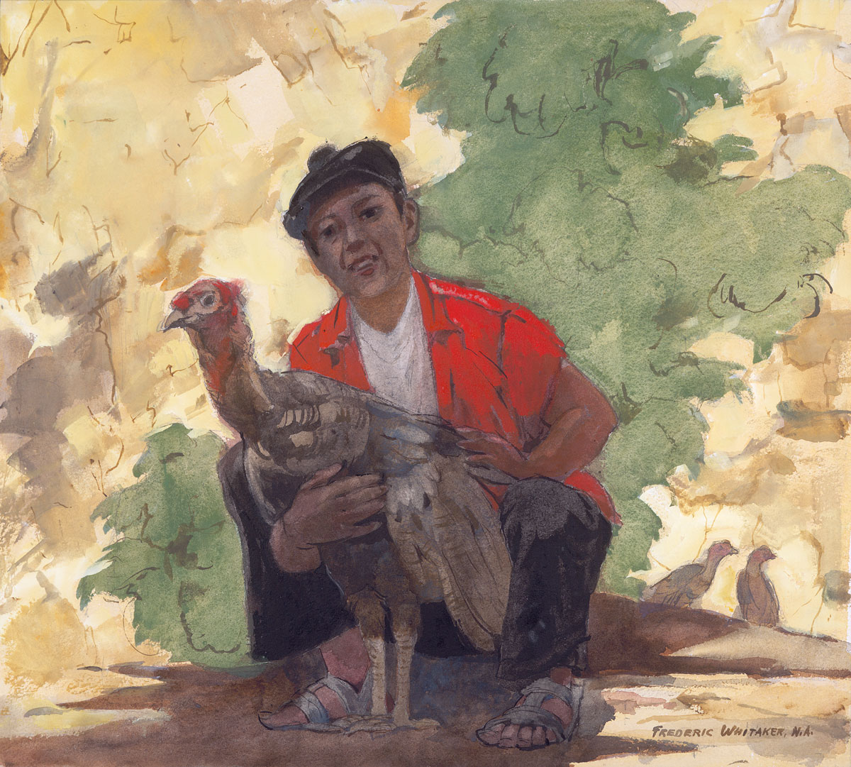 """Boy with Turkey"" 1971 © Frederic Whitaker N.A. 22x24.5 inches Watercolor"