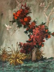 """Bougainvilleas No. 5"" 1971 © Frederic Whitaker 22x30 Inches Watercolor"