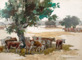"""Oasis"" 1969 © Frederic Whitaker 22x30 inches Watercolor"