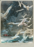 """""""White Gulls"""" 1966 © Frederic Whitaker N.A. 22x30 inches Watercolor"""