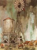 """""""Bovine Hangout"""" 1968 © Frederic Whitaker 21x30 inches Watercolor"""