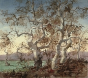 """""""Sycamores"""" 1972 © Frederic Whitaker 22x24 inches"""