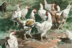 """""""Gallinaceous Gathering"""" 1963 © Frederic Whitaker 22x30 inches"""