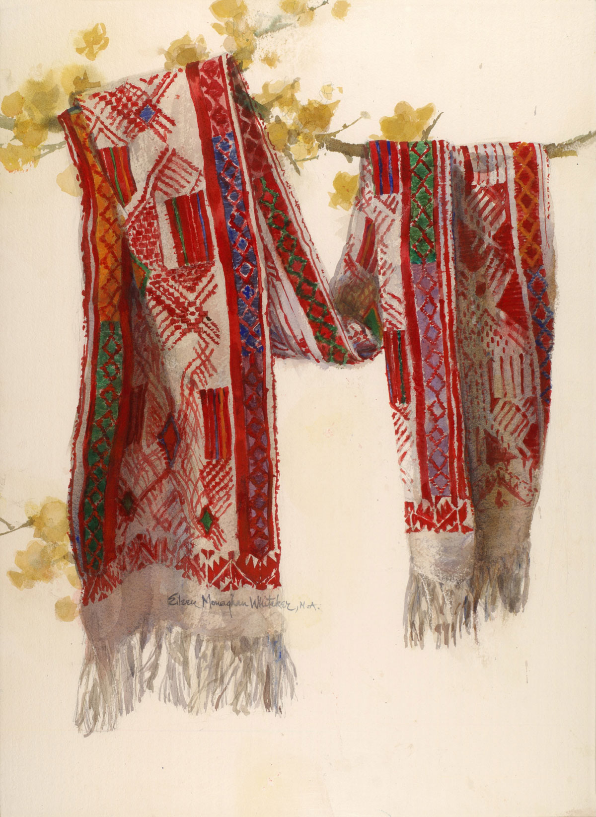 """""""Ancient Design"""" 1989 © Eileen Monaghan Whitaker 30x22 inches Watercolor"""