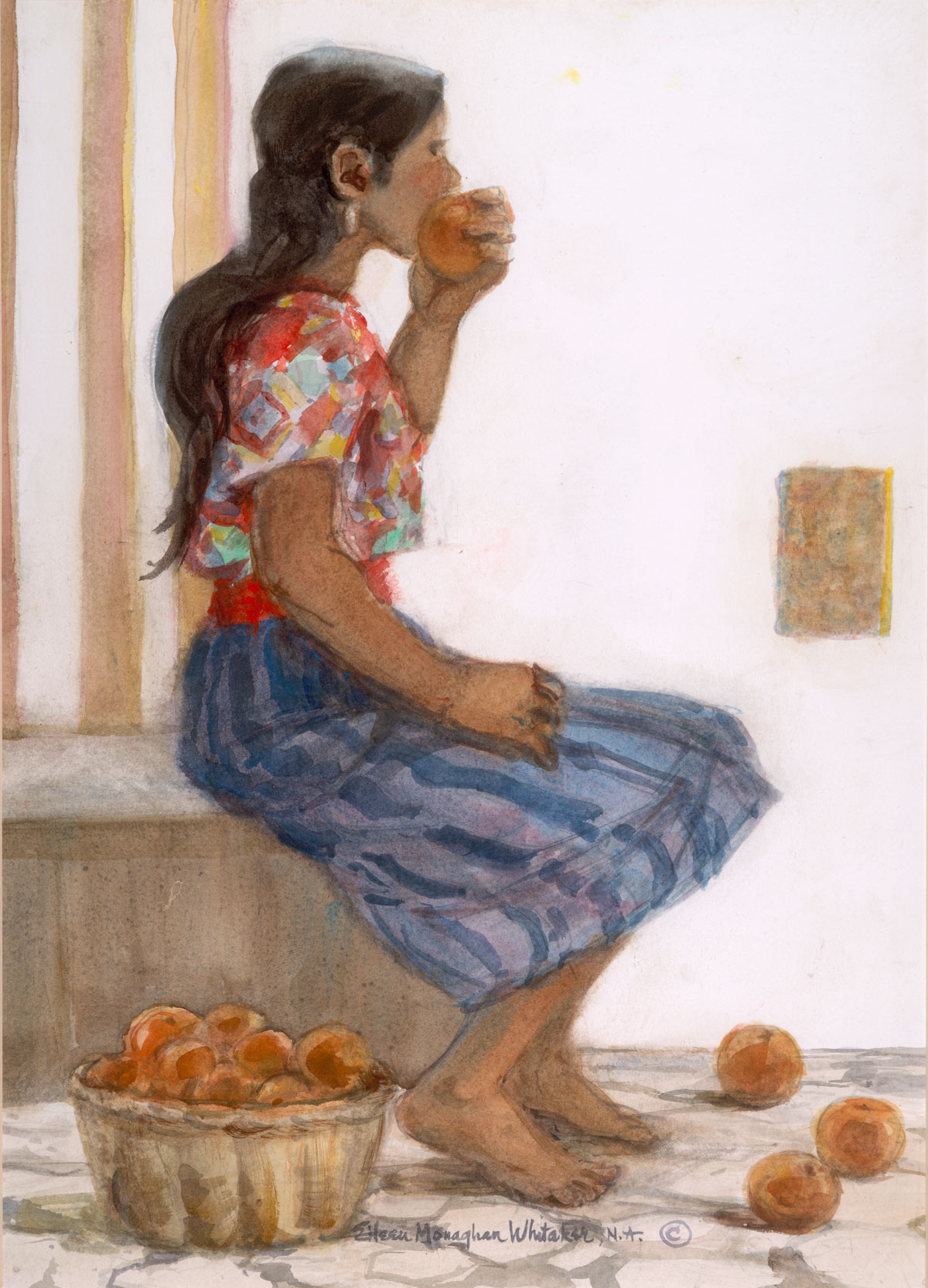 """""""Sampling the Produce"""" 1992 © Eileen Monaghan Whitaker N.A. 22x16 inches Watercolor"""