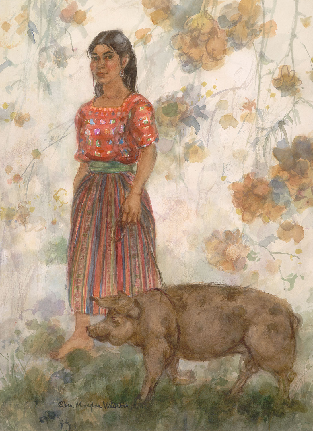 """The Little Piggy Stays Home"" 1990 © Eileen Monaghan Whitaker N.A. 30x22 inches Watercolor"
