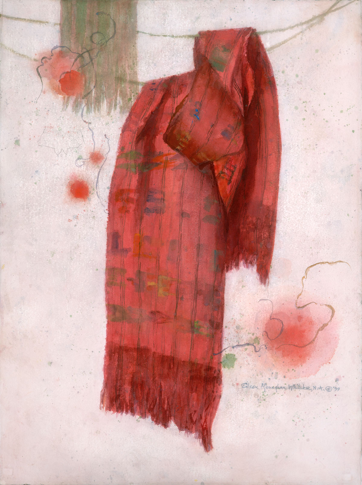 """The Red Shawl"" 1999 © Eileen Monaghan Whitaker 30x22.5 inches Watercolor"
