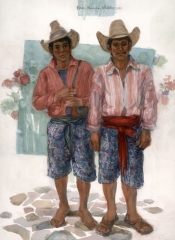 """""""Compadres, Panajachel"""" 1990 ©Eileen Monaghan Whitaker 22x30 inches Watercolor"""
