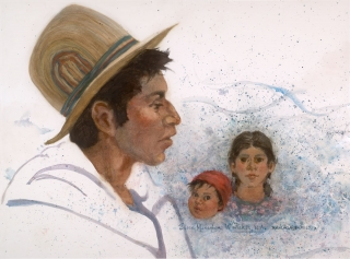 """Nahuala Family"" 1992 © Eileen Monaghan Whitaker N.A.  23x30 inches Watercolor"