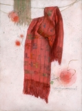 """""""The Red Shawl"""" 1999 © Eileen Monaghan Whitaker 30x22.5 inches Watercolor"""
