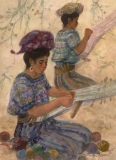 """""""The Weavers"""" 1988 © Eileen Monaghan Whitaker N.A.  22x30 inches Watercolor"""