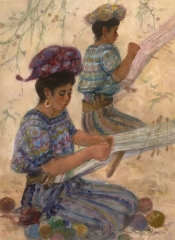 """""""The Weavers"""" 1988 © Eileen Monaghan Whitaker 22x30 inches Watercolor"""