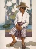 """""""Que Rana Tan Grande"""" 1990 © Eileen Monaghan Whitaker N.A.  22x30 inches Watercolor"""