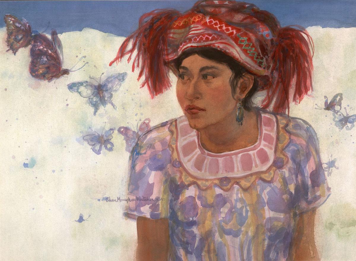 """Princess Mariposa"" 1989 © Eileen Monaghan Whitaker 22x30 inches Watercolor"