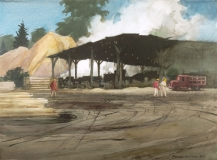 """""""Carolina Saw Mill"""" 1969 © Frederic Whitaker N.A. 22x30 inches Watercolor"""