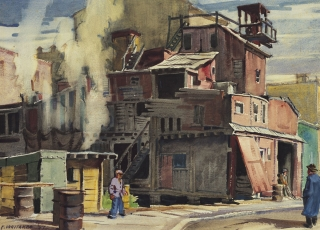 """Cement Plant"" 1947 © Frederic Whitaker 17x23 inches Watercolor"