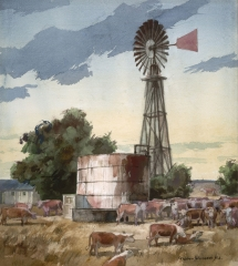 """The Watertank"" 1971 © Frederic Whitaker N.A.  22x24 inches Watercolor"
