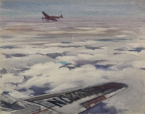 """""""Two Small Planes"""" © Frederic Whitaker (date and size unknown) Watercolor"""