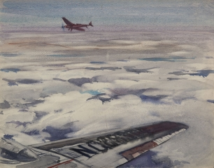 """Two Small Planes"" © Frederic Whitaker (date and size unknown) Watercolor"