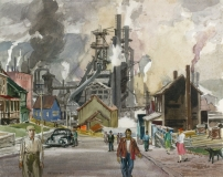 """""""Basic Industry"""" 1941 © Frederic Whitaker 16x20 inches Watercolor"""