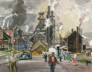 """Basic Industry"" 1941 © Frederic Whitaker 16x20 inches Watercolor"