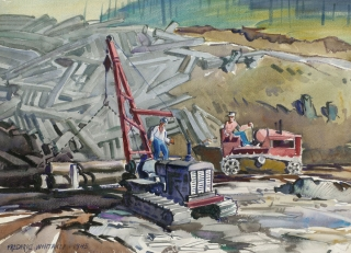 """Log Hauling"" 1945 © Frederic Whitaker 22x30 inches Watercolor"