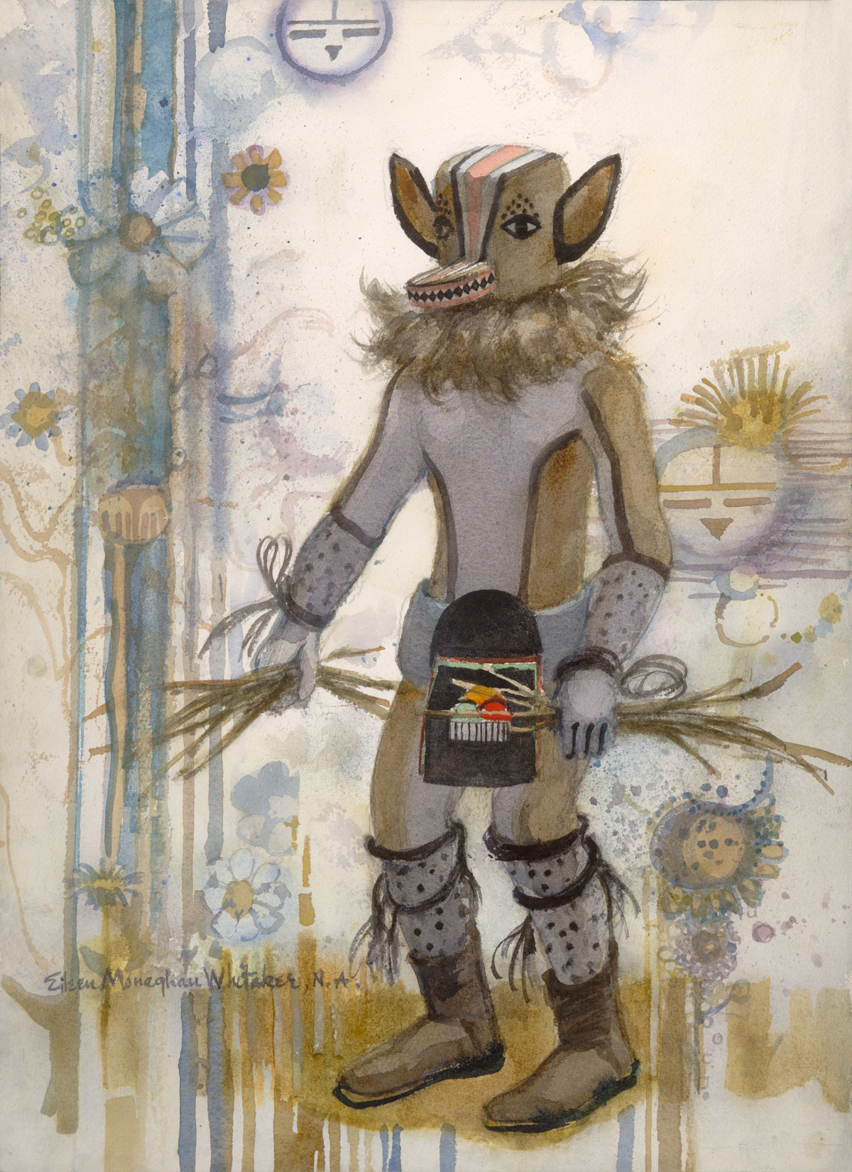 """Kachina Chipmunk"" 1983 © Eileen Monaghan Whitaker 22x16 inches Watercolor"