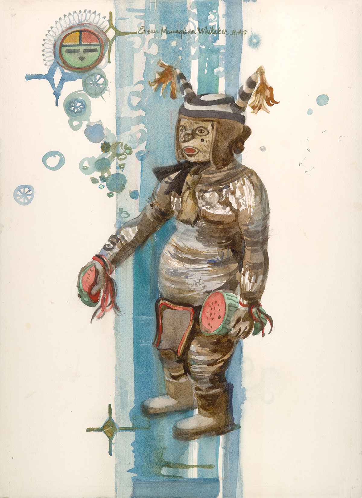 """Kachina Clown"" 1983 © Eileen Monaghan Whitaker 22x16 inches Watercolor"