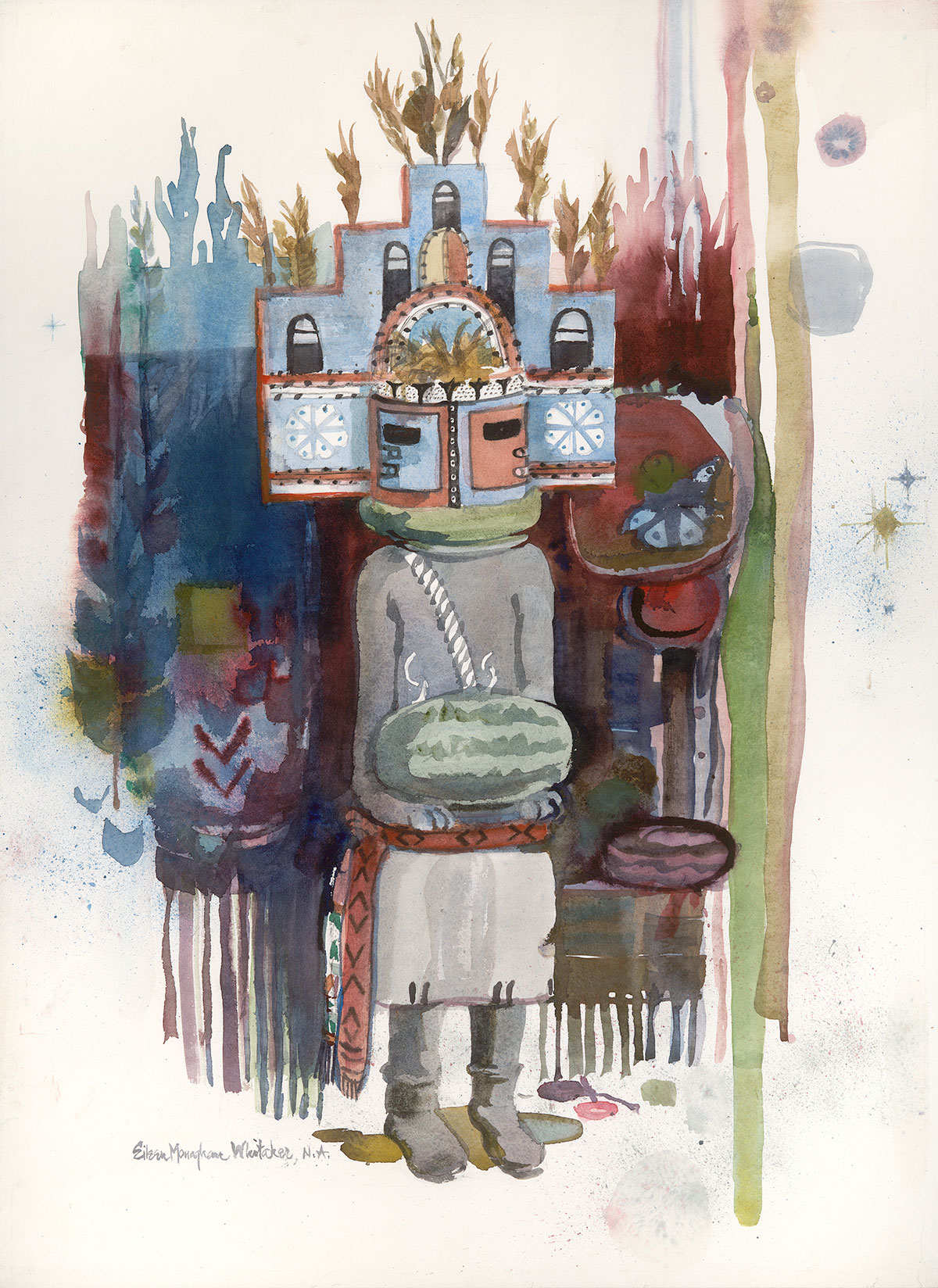 """Kachina Hemis"" 1982 © Eileen Monaghan Whitaker 30x22 inches Watercolor"