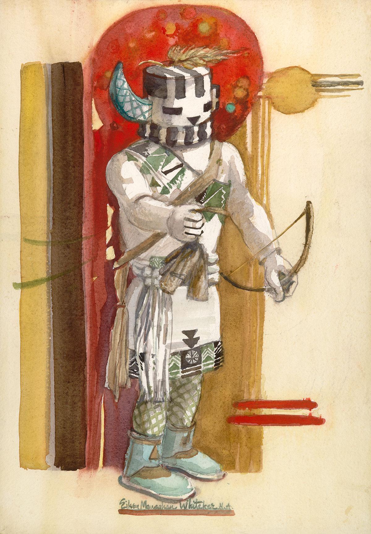 """""""Kachina  Hututu"""" 1983 © Eileen Monaghan Whitaker 20x14 inches Watercolor"""
