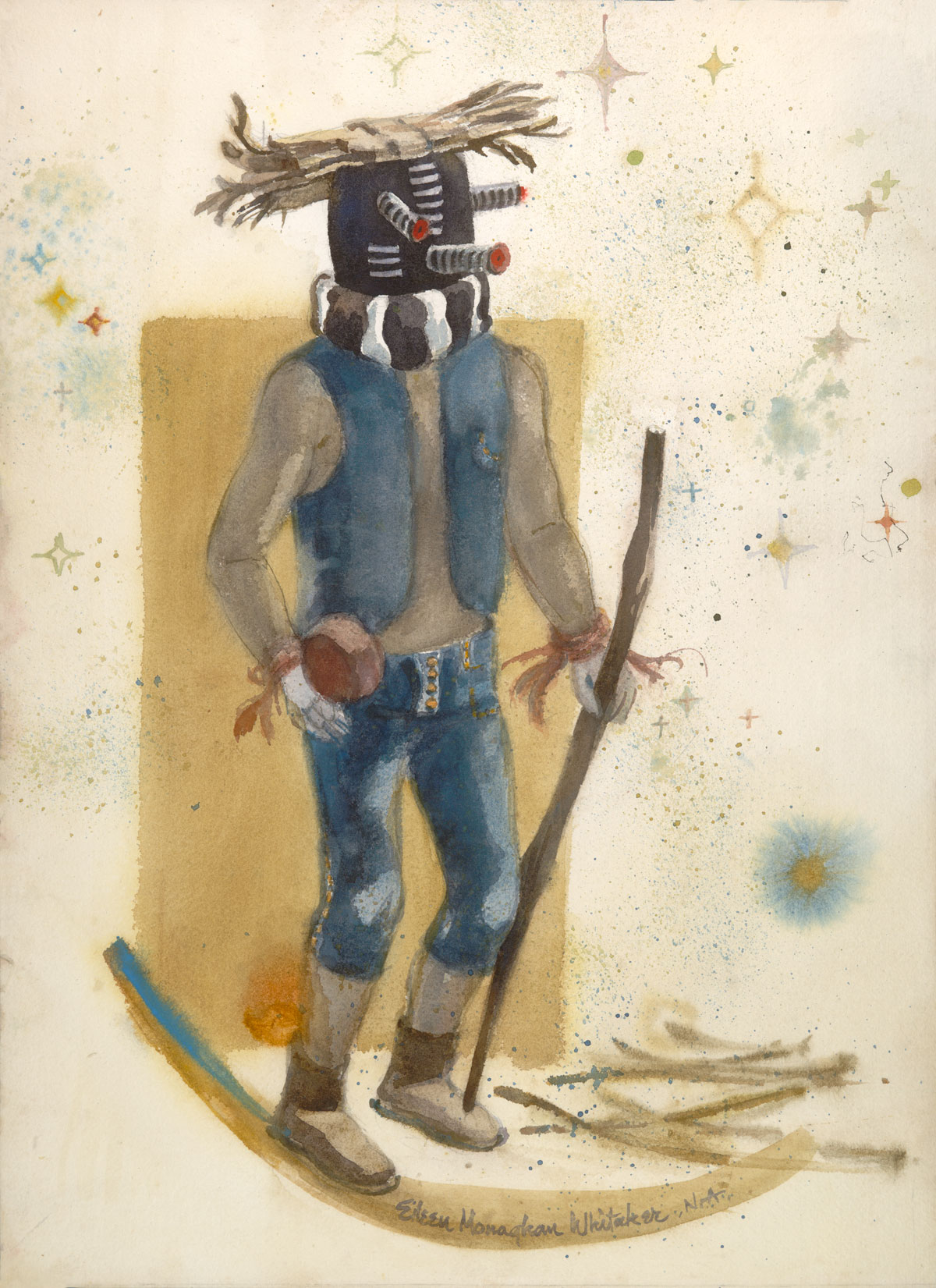 """Kachina Mocking"" 1983 © Eileen Monaghan Whitaker 22x16 Watercolor"